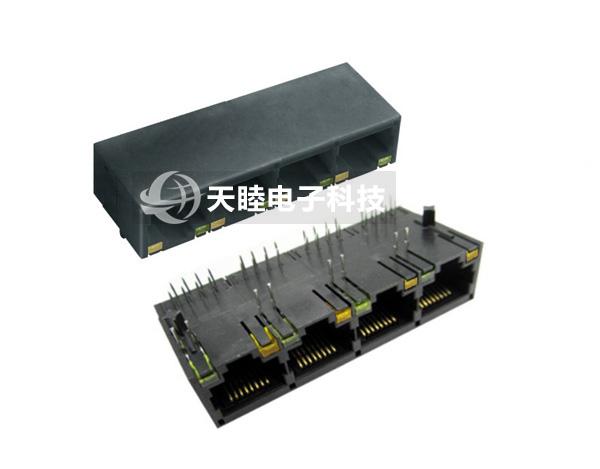 带滤波器网络插座/带led/四联体/全塑rj45